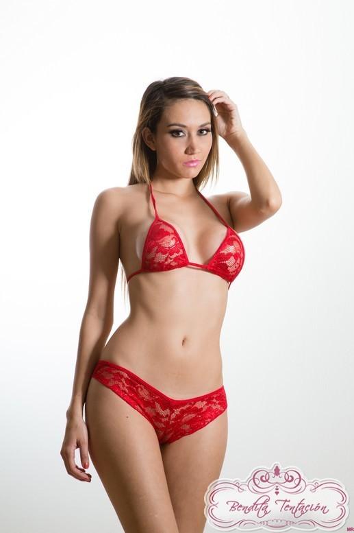 2 pc Red Lace Triangle Bikini Lingerie one size